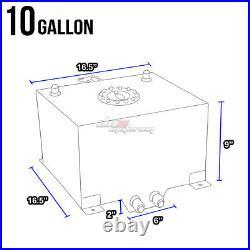 10 Gallon Black Aluminum Fuel Cell Gas Tank+cap+level Sender+nylon Oil Feed Kit