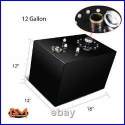 12 Gallon Top Feed Aluminum Fuel Cell/Gas Tank+Level Sender+Cap Black Coated