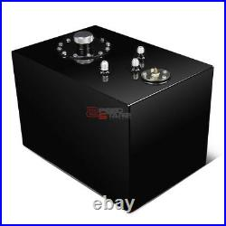 12 Gallon Top-feed Black Coated Aluminum Fuel Cell Tank/2 Sump+cap+level Sender
