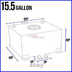 15.5 Gallon Black Aluminum Fuel Cell Tank+cap+level Sender+nylon Oil Feed Kit