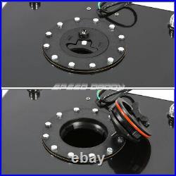 15.5 Gallon Black Aluminum Fuel Cell Tank+cap+level Sender+steel Fuel Line Kit