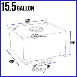 15.5 Gallon Lightweight Black Coat Aluminum Gas Fuel Cell Tank+level Sender+foam