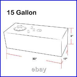 15 GALLON TOP-FEED BLACK ALUMINUM 30x9x12 FUEL CELL TANK+CAP+LEVEL SENDER