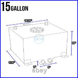 15 Gallon/57l Black Coat Aluminum Racing Gas Fuel Cell Tank/2sump+level Sender