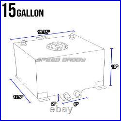 15 Gallon Black Aluminum Fuel Cell Gas Tank+cap+level Sender+steel Fuel Line Kit