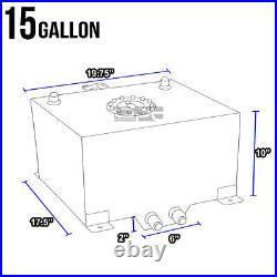 15 Gallon Lightweight Black Coat Aluminum Race Drift Fuel Cell Tank+level Sender