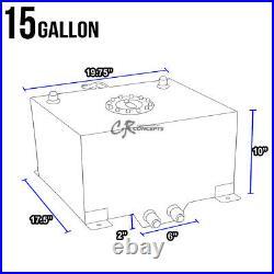 15 Gallon Lightweight Polished Aluminum Gas Fuel Cell Tank+level Sender+foam