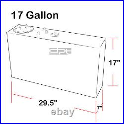 17 Gallon Top-feed Black Coated Aluminum Racing Slim Fuel Cell Tank+level Sender