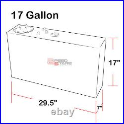 17 Gallon Top-feed Black Coated Aluminum Slim Fuel Tank/2 Sump+cap+level Sender