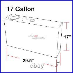 17 Gallon Top-feed Performance Polish Aluminum Slim Fuel Cell Tank+level Sender
