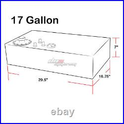17 Gallon Top-feed Performance Polished Aluminum Fuel Cell Tank+cap+level Sender