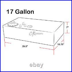 17 Gallon Top-feed Polished Aluminum Gas Fuel Cell Tank+cap+level Sender+foam