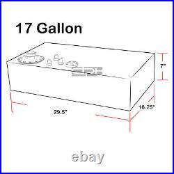 17 Gallon Top-feed Polished Aluminum Race Drift Fuel Cell Tank+cap+level Sender