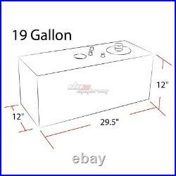 19 Gallon Top-feed Aluminum Race Fuel Cell Tank+cap+level Sender+steel Line Kit