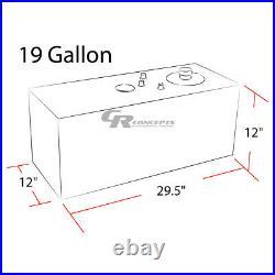 19 Gallon Top-feed Black Coat Aluminum Gas Fuel Cell Tank+cap+level Sender+foam