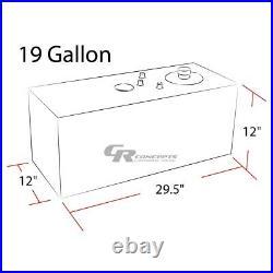 19 Gallon Top-feed Polished Aluminum Gas Fuel Cell Tank+cap+level Sender+foam