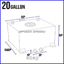 20 Gallon Blue Coated Aluminum Racing Drifting Fuel Cell Gas Tank+level Sender