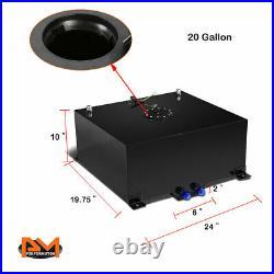 20 Gallon Lightweight Aluminum Coated Fuel Cell/Gas Tank+Level Sender Black Cap