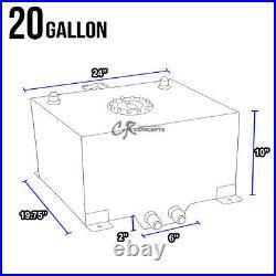 20 Gallon Lightweight Black Coated Aluminum Gas Fuel Cell Tank+level Sender+foam