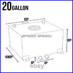 20 Gallon Polished Aluminum Fuel Cell Tank+cap+level Sender+nylon Fuel Line Kit