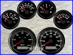 6 Gauge Set With Sender, 120KMH Speedo, Tacho, Fuel Level, Temp, Volt, Oil Pressure