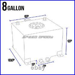 8 Gallon/30.5l Black Aluminum Fuel Cell Tank+level Sender+steel Fuel Line Kit
